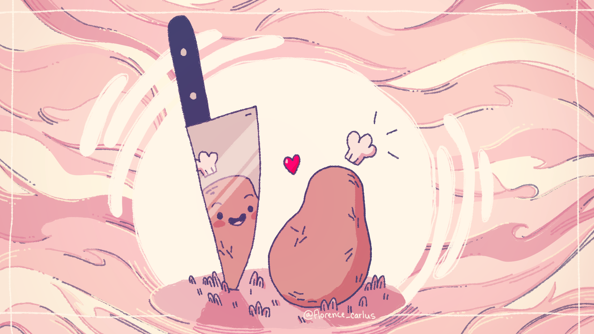 A drawing of a potato with a face and a tiny chef hat, looking at their reflection in a knife blade with joy